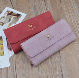 Wholesale Large Christmas Deer - Factory wholesale brand handbag retro matte woman long wallet are deer head ornament of a woman hand wallet Korean large leather wallet