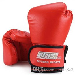 Wholesale Glove Boxing - 3 Colors SUTEN 1 Pair Boxing Gloves Mitts PU Leather Mitten Boxing Glove Kickboxing Training Boxing Gloves Male Gloves HOT +TB