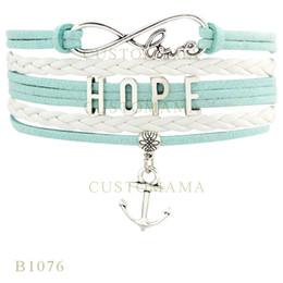 Wholesale Infinity Bracelet Metal - Custom-Infinity Love Hope Anchor Metal Charm Wrap Bracelets Best Christmas Gifts White Turquoise Bracelets Leather Custom Bracelets