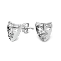 Wholesale Earring Mask Studs - Silver Mask Stud Earrings in Stainless Steel