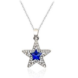 Wholesale Elegant Silver Necklaces - Fashion Elegant Blue Crystal Stars Pendants Necklaces For Wedding Banquet Jewelry Women Silver Plated Chain Necklace Friend Gift