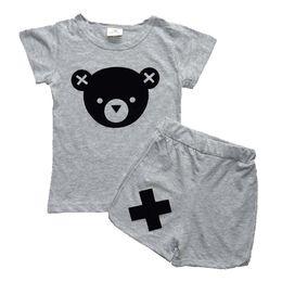 Wholesale Baby Girls Tshirts - Wholesale- Baby Girls Clothing sets Boys Summer Clothing Sets Panda Cartoon 2016 Toddler Girls Clothes Tshirts Shorts 2piece sets