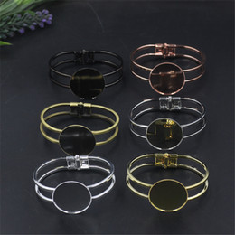 new diy products Coupons - BoYuTe New Product 5 Pieces 25mm Round Cabochon Settings Blank Bangle 6 Colors Diy Cuff Bangle