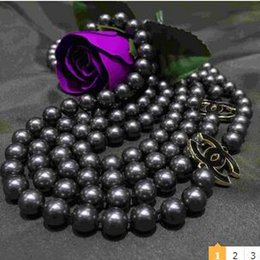 "Wholesale Sea Shell Fashion - FFREE SHIPPING***Fashion Jewelry!! NEW Top Long 8mm dark grey sea shell pearl necklace 68"" gyuk9y"