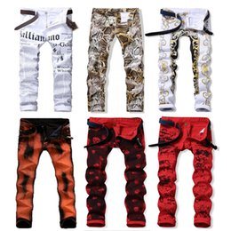 Wholesale Motor Jeans - Fashion Men's Casual Pants Personality Haulage Motor Skull Night Club Printing Man Pants Skull 29-38 Jeans Hot sale Free shipping
