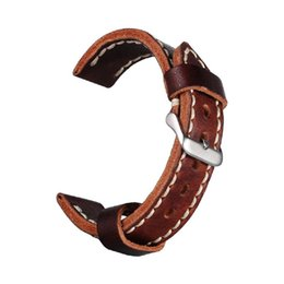 Wholesale Wholesale Seiko - 22mm Watchband Genuine Cowhide Leather Dark Brown Luxury porous watchband Strap Belt Silver Pin Buckle free shipping
