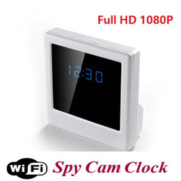 Wholesale Hd Table Clock Hidden Camera - Wireless WIFI Clock P2P IP camera HD 1080P Digital Mirror Clock Spy Camera Hidden DVR Video Recorder Table Clock Home Security camera
