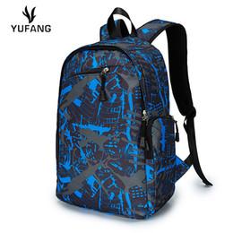 Wholesale Flower Laptop Bags - Wholesale- YUFANG Fashion korean style men backpacks brand designer flower pattern school bag students travel bag man 14inch laptop bag