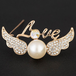 6ec11216fce Discount wing pins - Sweet Love Word Simulated Pearl Wings Brooch for Women  Rhinestone Wedding Brooch