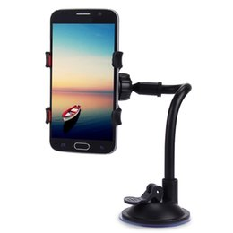 Wholesale Universal Windshield Phone Mount - Universal Long Arm 360 Degrees Rotation Windshield Dashboard Car Mount Holder Organizer Cradle System for Cell Mobile Phones 160344901