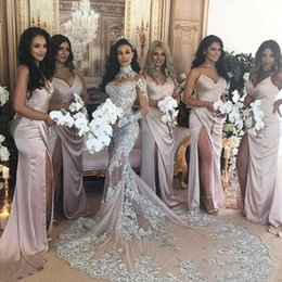 Wholesale Bling Custom - Luxury Sparkly 2017 Wedding Dress Sexy Sheer Bling Beaded Lace Applique High Neck Illusion Long Sleeve Champagne Mermaid Chapel Bridal Gowns
