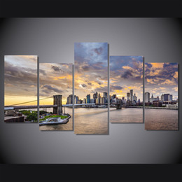 Wholesale Poster Printing London - 5 Pcs Set Framed HD Printed London City bridge poster Group Painting room decor print poster picture canvas Free shipping ny-1171