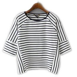 Wholesale Korean Basic T Shirt - Wholesale-XZH51 Korean Fashion Summer 2016 Women Vintage School Black White Striped T-Shirt Basic Bat Sleeve Casual Tops Tee Shirts