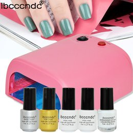 Wholesale Soak Off Liquid - Wholesale- Nail Art Base Tools 36W UV Lamp & 2 pcs 7ml Soak Off Gel Base Top Coat Gel Nail Polish Kit Manicure Set with 7ml Liquid Palisade