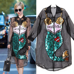 Wholesale Net Sheer Sleeve Dresses - 2017 new spring trend of mermaid sequins perspective net yarn stitching long sleeve square collar cardigan dress