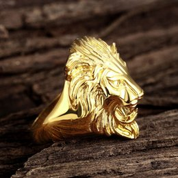 Wholesale Vintage Gold Plated Jewelry - New Classic Unsex Vintage Gold Plated Hip Hop Jewelry Ring Size 6-10 US