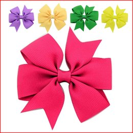 Wholesale Tie Clips For Kids - Bow Tie Hair Clip For Kids Small Sweet Solid Ribbon Bow Headwear with8*8CM Safety Hair Clips Kids Hairpins Accessories gift 40 Color