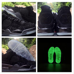 Wholesale Mens Glow Dark Shoes - New KAWS x Air Retro 4 Cool Black XX Suede 4s Mens Basketball Shoes Men 2017 Trainers Glow in the Dark