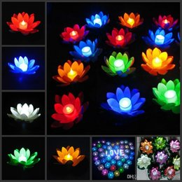 Wholesale Floating Flowers Supplies - Popular Artificial LED Candle Floating Lotus Flower With Colorful Changed Lights For Birthday Wedding Party Decorations Supplies Ornament