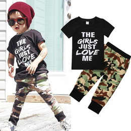 Wholesale 4t Camouflage Clothes - Summer Style Cool Newborn Kids Baby Boys Clothes Set 2Pcs Set Tee Tops + Camouflage Long Bottoms Pants Outfits Toddler children costume