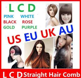 Wholesale Logo Au - NEW Hair Straightener Flat Iron HQT-906 Hair iron Straightening Brush Hair Styling Tool comb With LCD US EU UK AU free LOGO ok