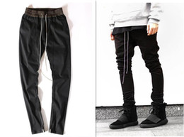 Wholesale Leisure Harem Pants Men - chinos joggers mens european clothing justin bieber Leisure trousers black kanye west harem dress fear of god zipper track pants