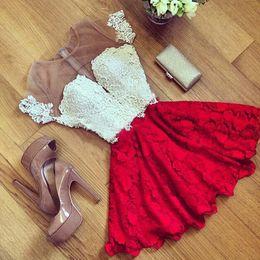 tamanho vestido curto vermelho xl Desconto Atacado Sexy Lace Dress Red Manga Curta Perspectiva Backless Vestido Fittness Moda Party Dresses Tamanho S-2XL Com Alta Qualidade