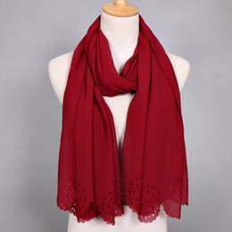 Wholesale Flower Hijabs - Wholesale- women lagre bubble chiffon scarf laser cut flower shawls women spring solid plain wrap muslim hijabs scarf scarves 20pcs lot