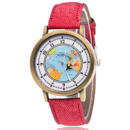 Wholesale Popular Maps - Network popular Europe and the United States popular cowboy canvas student table The world map belt quartz watch of