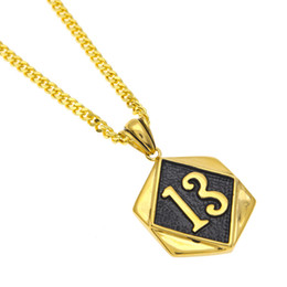 Wholesale Lucky Number Necklace - Newest Biker Golden Lucky Number 13 Pendant 316L Stainless Steel Polishing Cool Men Golden Biker Pendant Necklace