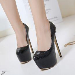 Wholesale Night Club Heels - Sexy black night club women super heel pumps classic lady party high heel shoes size 42