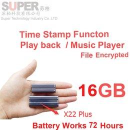 Reproductor de mp3 batería grande online-Al por mayor- x22 + gran batería 16 GB reproductor de MP3 + cifrado de archivos de memoria de memoria + grabadora de voz reproductor de música sello de tiempo grabadora de audio reproductor de audio
