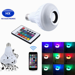 Wholesale Speakers Square - Wireless E27 6W Bluetooth Remote Control Mini Smart LED Audio Speaker RGB Color Light Warm Bulb Music Lamp