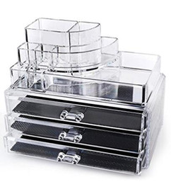 Wholesale Jewerly Display Holder - Acrylic Makeup Organizer Cosmetic Display 3 Drawer Jewerly Makeup Case Lipstick and Brush Holder by Acrylicase®