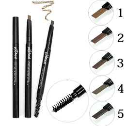 Wholesale Makeup Tattoo Pigment - Popfeel Double-ended Professional Eye Brow Pen With Mascara Long Lasting Natural Pigments Gray Brown Eyebrow Tattoo Pencil Cheap Makeup