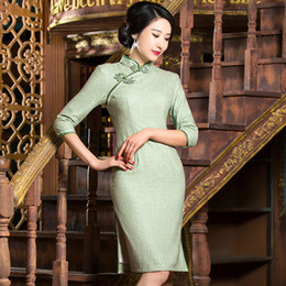 Wholesale Sexy Cheongsam Short Dress - 2017 New high quality vintage simple plus size 3 4 long sleeve woollen green pink pure color short cheongsam Chinese dress daily qipao