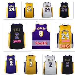 Wholesale Basketball Jersey Kids - Men Lonzo Ball #2 Bryant #24 basketball jerseys youth Kid Bryant Ball jersey Stitched Embroidery 8# jerseys Free Shipping