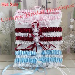 Wholesale Hot Pink Garters - Bridal Garter Set 2017 Hot Sale 2-Piece Wedding Garters in Burgundy Pink Sky Blue Navy Blue Colors Satin & Lace Garter with Pearls & Flowers