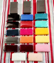 Wholesale Patent Leather Style - 2017 Wholesale Patent leather shinny long wallet multicolor Fashion high quality original box coin purse women classic zipper pocket luxury