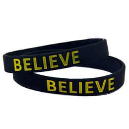 bracciali bieber Sconti Commercio all'ingrosso 100PCS / Lot Justin Bieber credi che il braccialetto del silicone indossi questo polsino senza lattice per sostenere quello che ami
