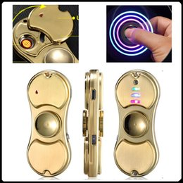 Wholesale Sport Lighters - Lighters Fidget Spinner With Led Usb Hand Spinner Finger spinner toy EDC Toy For Decompression Anxiety Toys