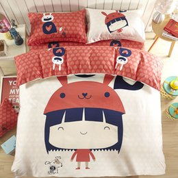 Wholesale Light Pink Full Size Bedding - 2017 New Pure cotton Cartoon Four piece suit Bed size 1.5m 1.8m free shipping