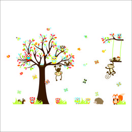 Wholesale Tree Life Decal - Tree And Animal Decorative Painting Children Wall Stickers