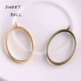 Wholesale Gold 24 Set - Min order 30pc 24*39mm Alloy jewelry setting accessories oval charm Hollow glue blank pendant tray bezel charms DIY Handmade Craft D6095-1