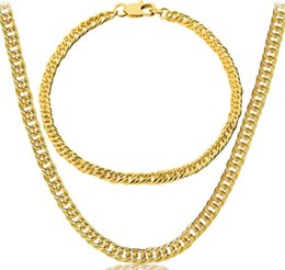 Wholesale Golden Mark - Mark 18K gold plating Sideways Necklace Fashion man woman 3.5MM Gold bracelet necklace wedding Jewelry Set