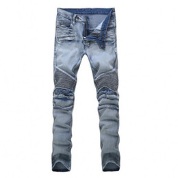 Wholesale Wear Jeans - High Quality Hommes Jeans 2017 Draped Worn Out De Haute Stretch Mode Light Blue Denim Marque Hommes Mince Fit Jeans Taille 28-42