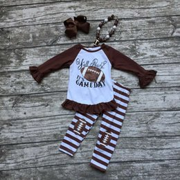 Wholesale Wholesale Football Clothes - Wholesale- girls football outfit clothing baby girls Y'all ready it's game day clothing girls football stripe pant sets with accessoreis