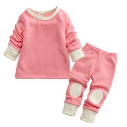 Wholesale Long Sleeve Set Kids - Winter boys girls cotton clothes solid color kids pyjamas infant long sleeve pant set children leisure wear baby t shirt set