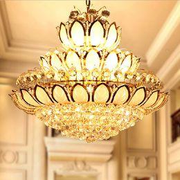 Wholesale Rustic Pendant Lighting - LED Crystal Chandeliers Lights Fixture Modern Crystal Lotus Flower Chandelier Golden Crystal Pendant Lamps Home Indoor Hotel Clubs Lighting