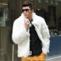 Wholesale Men Winter Jacket Fox - Best selling! Men 2015 new winter black fashion longhaired faux fur coat Fox fur Turn-down Collar full fur coats men fur jacket